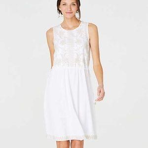 J Jill Embroidered Side Tie Waist Dress